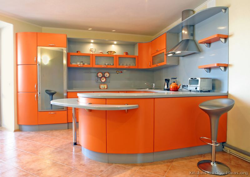 صورة مطابخ برتقالي جميلة