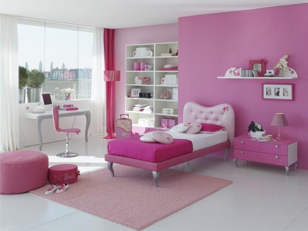 صورة غرف بنات باللون الوردي