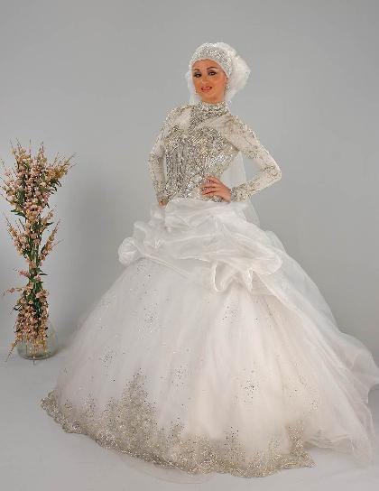 صورة اجمل فساتين زفاف محجبات